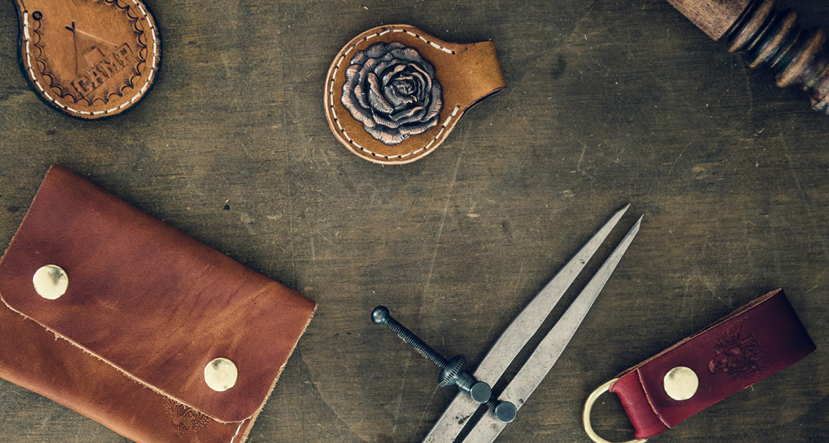 leather goods on table